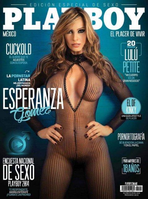 Длинноволосая красотка Playboy с большими сиськами позирует голая.
