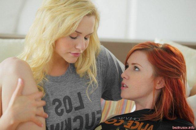 Рыжая подруга на кровати отлизывает гладкую пизду блондинке