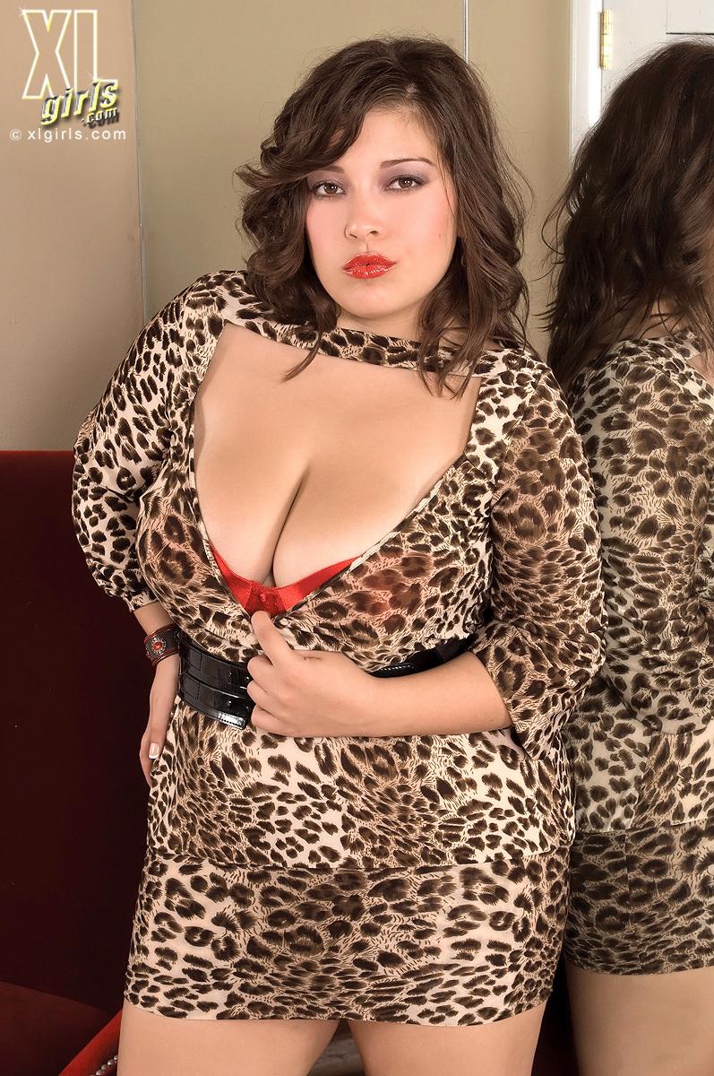 Красотка в леопардовом нижнем белье демонстрирует стриптиз